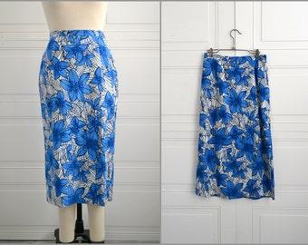 1980s Blue Floral Linen Blend Skirt