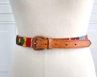 1980s Guatemalan Leather and Woven Belt