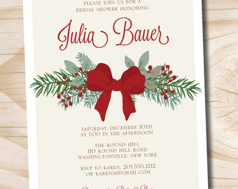 Christmas Bow Pine Bridal Shower Baby Shower Couples Shower Invitation - Printable digital file or printed invitations