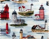Lighthouse fabric, july 4th fabric, Nautical Fabric