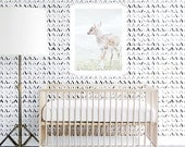 Tribal Wallpaper, Black and White, Kids , Monochrome, Wall sticker, Self-Adhesive, Peel and Stick Wallpaper, Modern. V Pattern Wallpaper