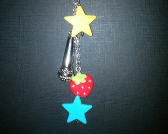 Microphone Star Strawberry Pendant Necklace