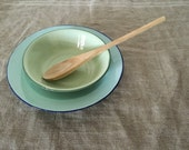 Two Green VINTAGE enamel ware bowls and wooden spoon. Vintage kitchen / vintage home.