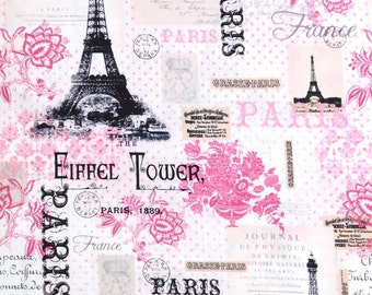 Pink Paris Cotton fabric with black Eiffel Towers, 100% cotton fabric for Quilting crafting and all sewing projects.