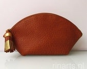 Leather bag organizer / zipper pouch / cosmetic bag WEDGE in cognac leather. Rust leather zipper pouch. Zipper pouch with tassel