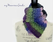 Kaleidoscope Berry Field Wrap and Tuck Cowl Scarf - Handmade - Wool