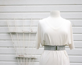 Silver elastic cinch belt, metalic silver waist belt for dresses, regular and plus size belts available