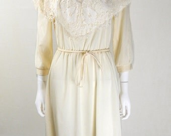 Vintage Cream Lace 1970s Mister Ant Dress UK Size 12/14
