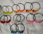 Black Hoop Earrings with Acrylic Star Beads