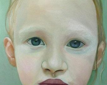 Original Art oil painting portrait child girl