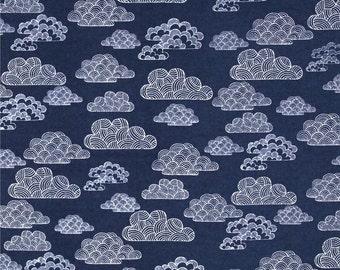 Organic Cotton Crib Sheet - Nimbus in Navy - Clouds, First Light,Navy, White, Fitted Crib Sheet, Baby Nursery, Cloud baby sheet