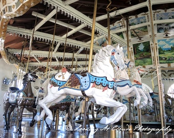 Balboa Park Carousel art photo, San Diego's vintage carousel, carnival photography, antique horses, merry go round, nursery decor