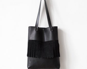 Rounded Fringe Black Tote bag No.Tl- 6025 festival tassel