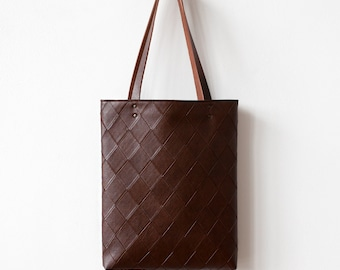 Clearance SALE Brown Tote bag No.Tw- 203 geometric pattern