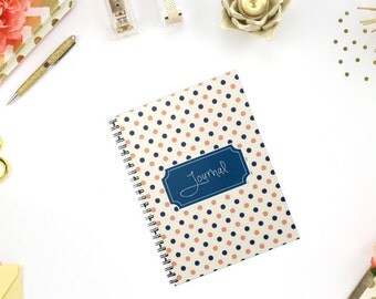 Personalized/ Custom Notebook - Polka Dots Notebook with Monogram, Add Name or Phrase - 100 sheets