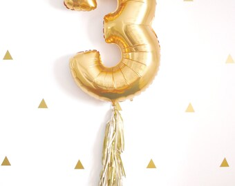 Gold Foil Number Balloon with Tassel Tail, 1st Birthday Party Decorations, Photo Booth Prop,  Blush Wedding