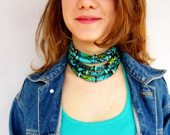 African Turquoise Choker - Fabric Collar Multi strand Coloful  Necklace