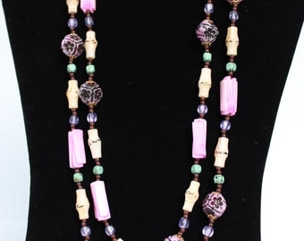 Long Chunky Necklace Beaded Statement Necklace 70s Era 49 Inches