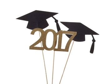 3 Graduation Centerpiece Sticks 2017 - Glitter Gold and Black Graduation Party Decor - No1071