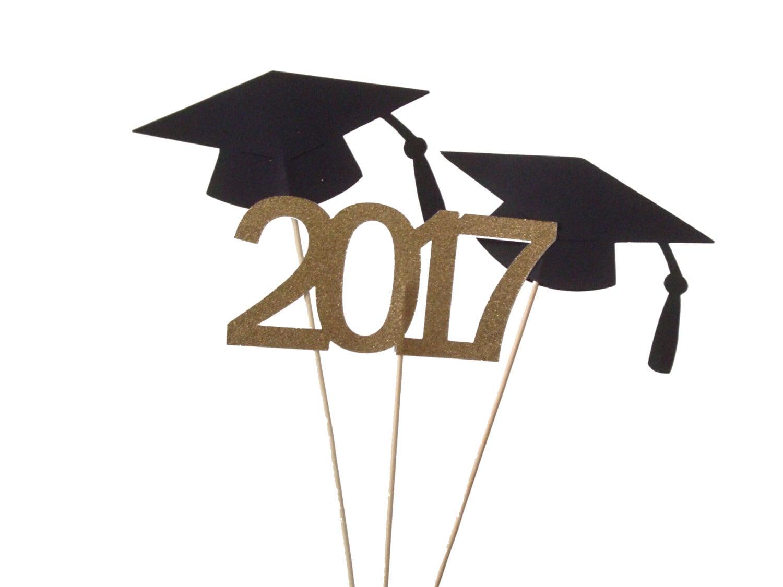 3 Graduation Centerpiece Sticks 2017 Glitter Gold and Black