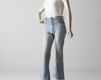 vintage Levis crop flare jeans, 1970s high waist denim 28 x 28