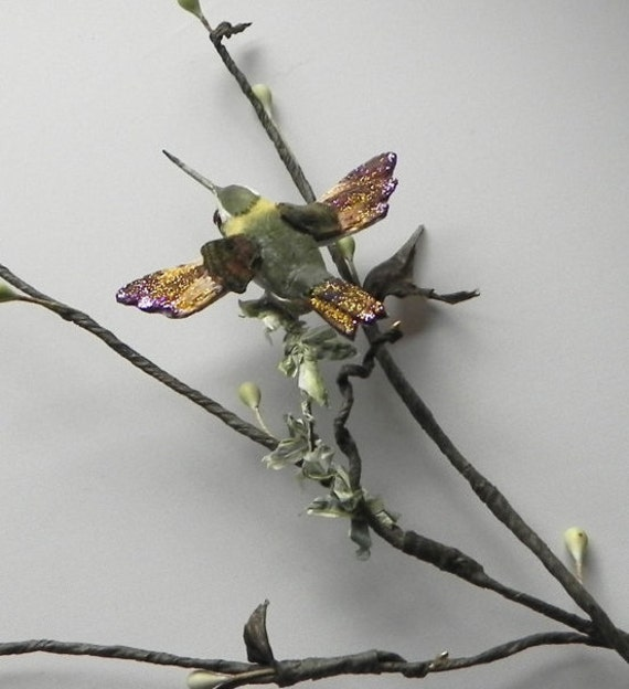 Hummingbird Vine, Woodland Hummingbird, Scrapbooking Embelishments, Floral Birds, Purple Hummingbird,  Woodland Tendrils