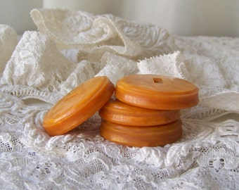 Vintage Bakelite Buttons Butterscotch Marbleized Coat Buttons Chunky Apple Juice Set of 4 Large Buttons Pearlized Butterscotch Vintage 1940s