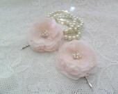 Blush pink hair flowers, bridal hair pin, wedding hair accessory, lace hair pins,bridesmaid hair accessory,YOUR CHOICE COLOR,lace hairpiece