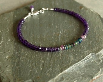 Amethyst Black Opal bracelet, Ethiopian black opals, sterling, purple pink sapphires, natural gemstone bead bracelet, boho real opal jewelry