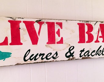 Fishing Sign Live Bait Lures and Tackle 11 x 48 Lake House Sign Rustic Vintage Barnwood Fishing Sign Handmade Cottage Fixer Upper