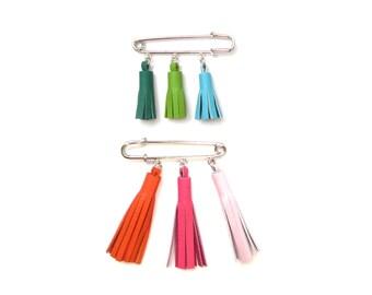 Triple Tassel Brooch   Lapel Pin   Modern Boutonniere   Safety Pin Brooch   Kilt Pin Brooch    Tassel Boutonniere   Colorful Tassel Brooch