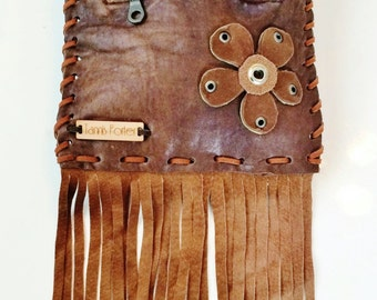 Paisley Hot Summer Solstice Bag - boho gypsy handbag, handmade from recycled brown leather with suede fringe - one of a kind, ecofriendly