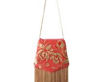Sequin Bag, Beaded Art Nouveau, Evening Handbag ,Peach Pink ,Gypsy ,Boho ,Great Gatsby, Roaring 20s, Flapper, Fringe, Tassel, Shoulder  OOAK