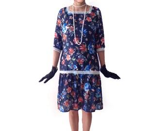 Retro Floral Flapper Dress, Great Gatsby Dress, Flapper Costume, 1920s Dress, 20s Dress, Roaring 20s Dress,Downton Abbey Dress, Dark Blue