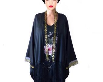Kimono Flapper Jacket Floral Black Satin Gold Lace Cardigan Boho festival Cape Fringes short kimono Artistic Outerwear Tassel High Fashion