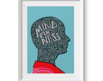 Mindfulness Illustration Giclée Print Wall Art