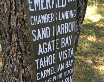 Lake Tahoe Destinations, Handcrafted Rustic Wood Sign, Mountain Decor for Home and Cabin, 1115
