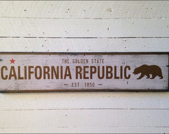 California Republic, Handcrafted Rustic Wood Sign, Mountain Decor for Home and Cabin, 1067