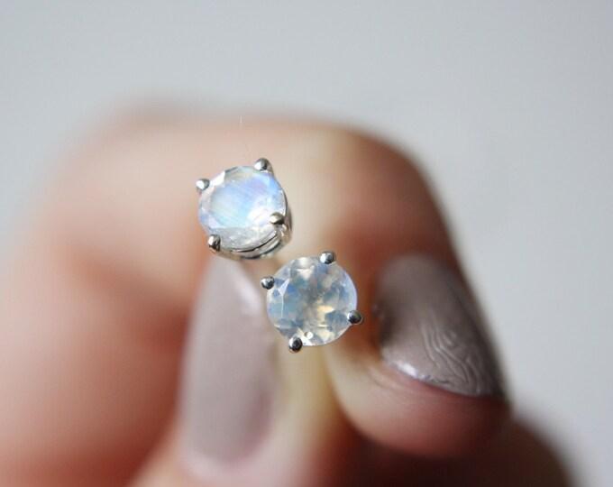 Large Faceted Moonstone Stud Earrings - sterling silver moonstone earrings - moonstone studs - rainbow moonstone earrings - gemstone studs