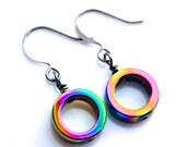 Rainbow Oil Slick Hemalyke Hoops . Earrings