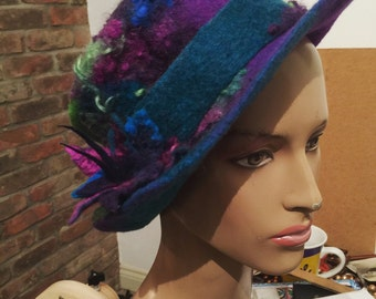 Felt trilby - Magic Hat 'Peacock' - purple blue green - Hand felted hand-dyed wool & curls - Handmade Fiber ARtWeAR - Custom Made to Order