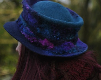 Handmade felt trilby hat - 'Serendipity' - Hand dyed & felted wool - blue navy purple pink - Custom Made to Measure - fiber art to wear