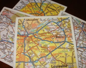 Kentucky Map Coasters...Includes Louisville and Lexington...For Drinks and Candles...Set of 4...Full Cork Bottoms...Great Gift