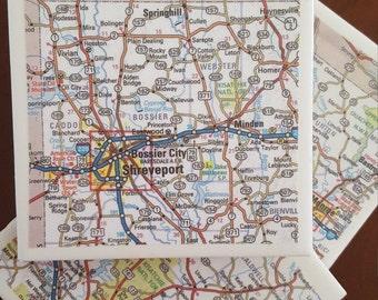 Shreveport Map Coasters...Louisiana...Set of 4...Full Cork Bottoms
