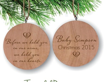 Expecting Baby Ornament, Before We Held You in our Arms Personalized Ornament, Engraved Wooden Gift Tag, Engraved Wooden Christmas Ornament