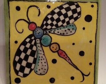 """Dragonfly tile 4 & 1/4 """"  checker hand made and hand painted kiln fired"""