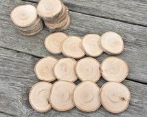 12 Small White Birch Disc Pieces, Large Hand Cut Wood Rounds, 2 inch Hand Cut and Sanded Wooden Coaster Rounds, White Birch Wood Discs