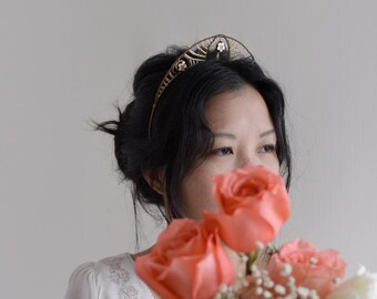 Princess Plum - bridal plum blossom tiara style headband crown