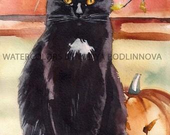 Black Cat Halloween Digital Art Print. Image of Black Cat with the Pumpkin for Instant Download. Digital Print of watercolor Painting.