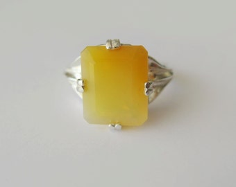 Natural Yellow Fire Opal In Sterling Silver Ring,  5.3ct. Size 6.75-7